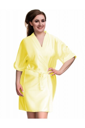 2106 Soft Satin Dressing Gown Yellow S - 7XL