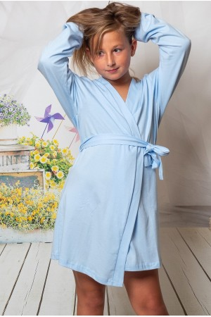 CLEARANCE OLD SHADE OF Light Blue KIDS COTTON DRESSING GOWN 2108