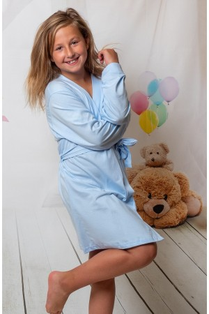 2108 Old Shade Light Blue Children Cotton Robe