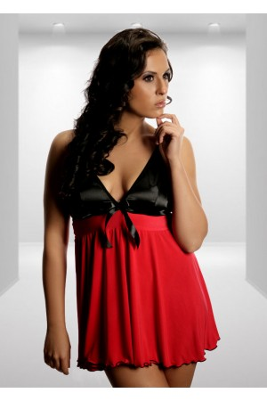2610 Feminine Flared Chemise With Satin Top Red M-8XL