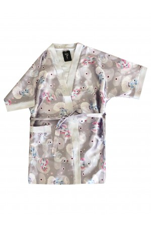 3107/2 unicorns girls satin dressing gown size 2-11yrs