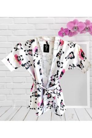 3107/4 panda girls satin dressing gown size 2-13yrs