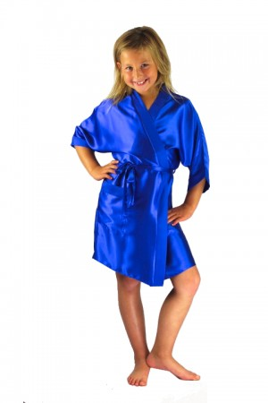 3107 Blue Children Satin Robe