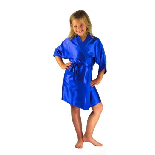 plus size-3107 Blue Children Satin Robe Dressing Gowns-Nine X