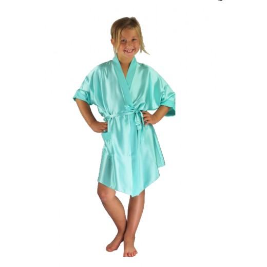 plus size-3107 Mint Children Satin Robe Dressing Gowns-Nine X