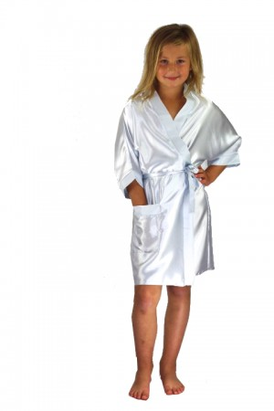 3107 White Children Satin Robe