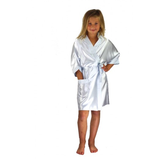 plus size-3107 White Children Satin Robe Dressing Gowns-Nine X