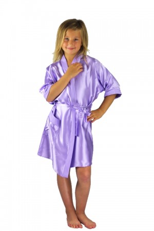 3107 Lilac Children Satin Robe