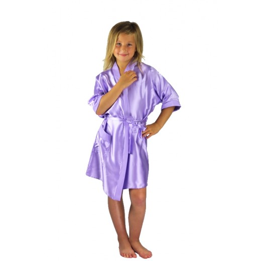 plus size-3107 Lilac Children Satin Robe Dressing Gowns-Nine X