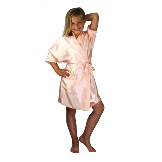 plus size-3107 Nude Children Satin Robe Dressing Gowns-Nine X