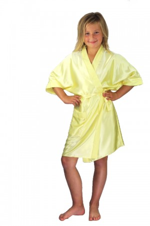 3107 Yellow Children Satin Robe