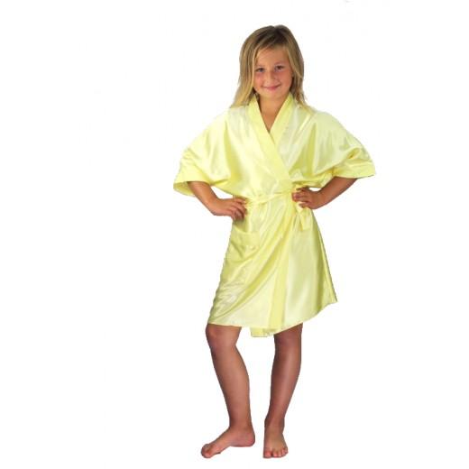 plus size-3107 Yellow Children Satin Robe Dressing Gowns-Nine X