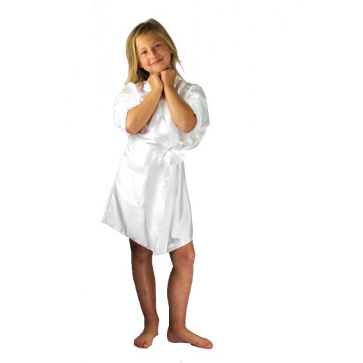 plus size-3107 Ivory Children Satin Robe Dressing Gowns-Nine X