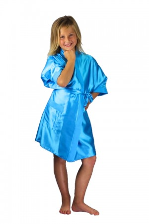 3107 Old Shade Turquoise Children Satin Robe