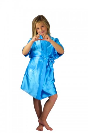 3107 Turquoise Children Satin Robe
