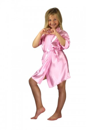 3107 Baby Pink Children Satin Robe