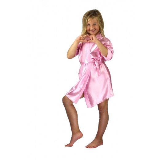 plus size-3107 Baby Pink Children Satin Robe Dressing Gowns-Nine X