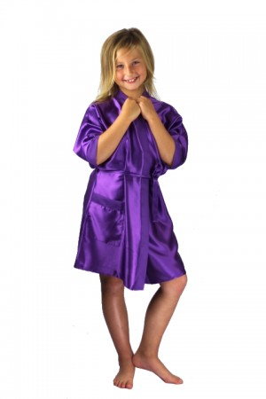3107 Purple Children Satin Robe
