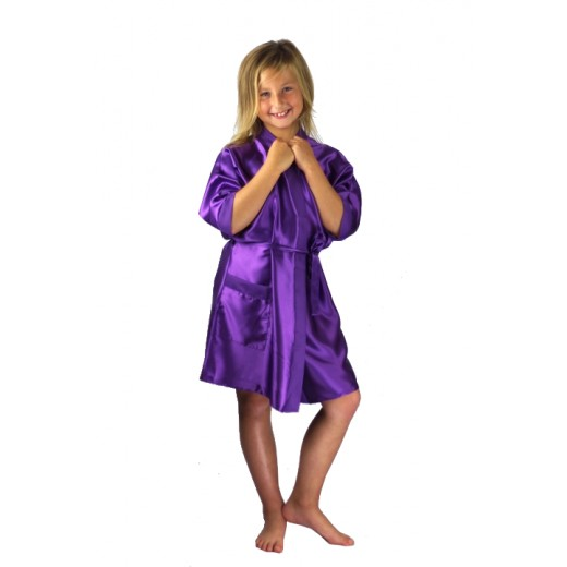 plus size-3107 Purple Children Satin Robe Dressing Gowns-Nine X
