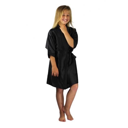 plus size-3107 Black Children Satin Robe Dressing Gowns-Nine X