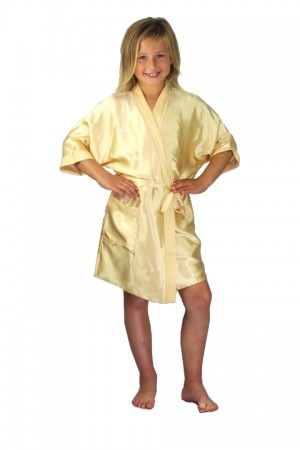 3107 Gold Children Satin Robe