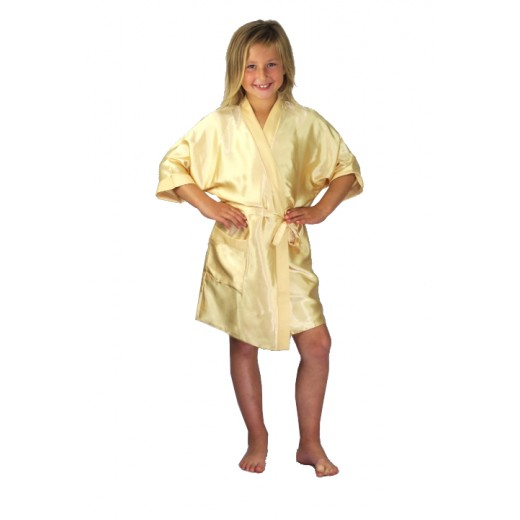 plus size-3107 Gold Children Satin Robe Dressing Gowns-Nine X