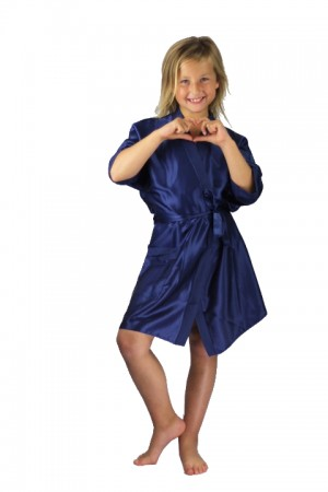 3107 Navy Blue Children Satin Robe