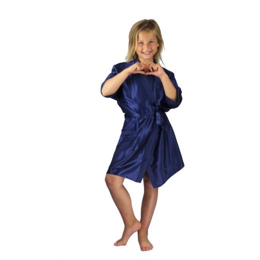 plus size-3107 Navy Blue Children Satin Robe Dressing Gowns-Nine X