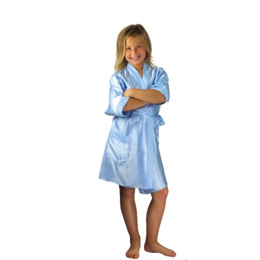plus size-3107 Light Blue Children Satin Robe Dressing Gowns-Nine X