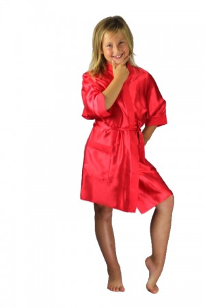 3107 Old Shade Red Children Satin Robe