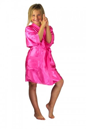 3107 Pink Children Satin Robe