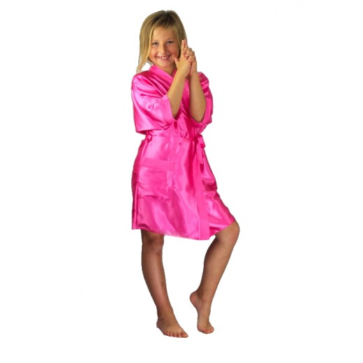 plus size-3107 Pink Children Satin Robe Dressing Gowns-Nine X