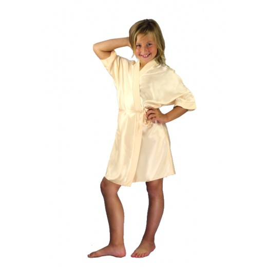 plus size-3107 Champagne Children Satin Robe Dressing Gowns-Nine X