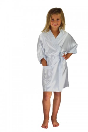 3107 Silver Children Satin Robe