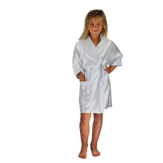plus size-3107 Silver Children Satin Robe Dressing Gowns-Nine X
