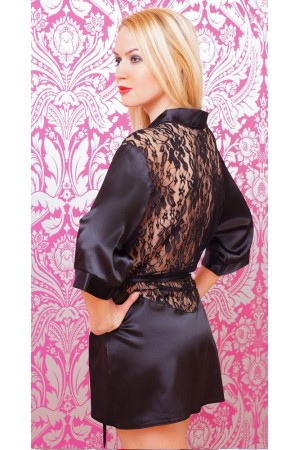 3009 Luxurious Black Satin Kimono With Lace Back  S-6XL