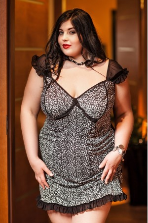 034 'Davina' Black and White Leopard Babydoll With Net Sleeves  S-6XL
