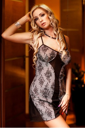 027 'Finella' Lace Print Babydoll With Sheer Black Panels   S-6XL