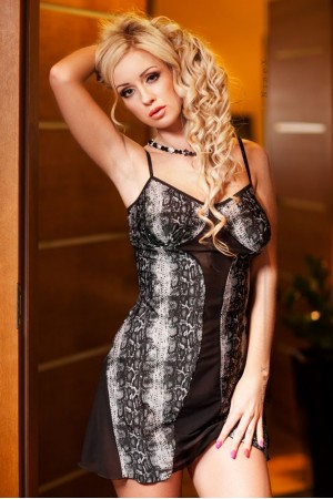 026 'Finella' Snake Print Babydoll With Sheer Black Panels  S-6XL