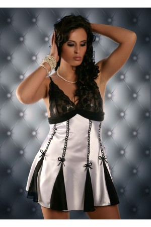 3012 White Flared Satin and Net Babydoll M -5XL