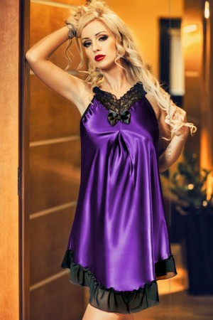 020 'Florrie' Purple and Black Satin Babydoll S-6XL