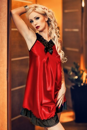 020 'Florrie' Red and Black Satin Babydoll S-6XL
