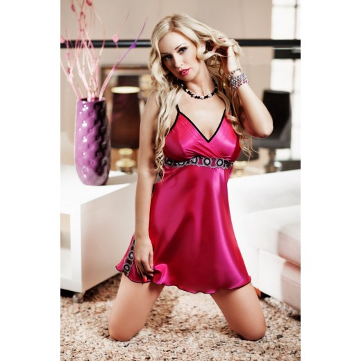plus size-023  Freya  Pink Satin Chemise With Underbust Embelishment S-6XL Babydolls-Nine X