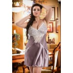 plus size-042  Frida  Dusty Lilac Satin Chemise with Cute Pockets S-6XL Babydolls-Nine X