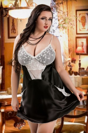 042-Black Satin Chemise with Cute Pockets S-6XL