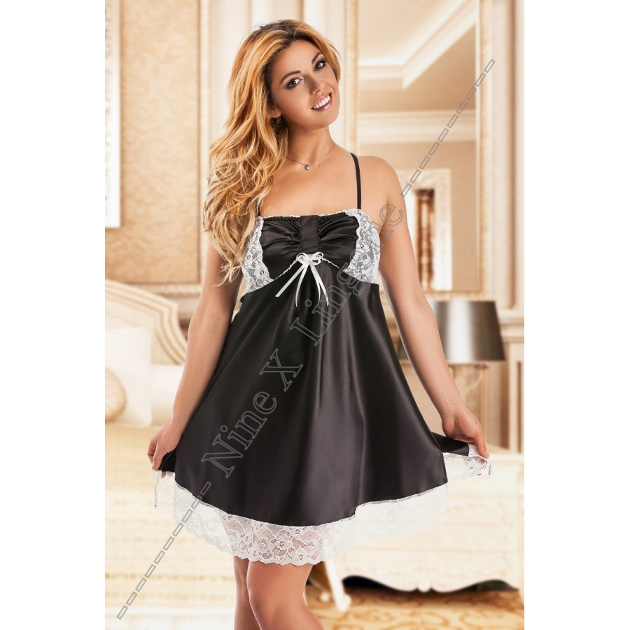 70b1b104fec 038 Gala Black satin Chemise with White Lace Detail S-6XL Babydolls