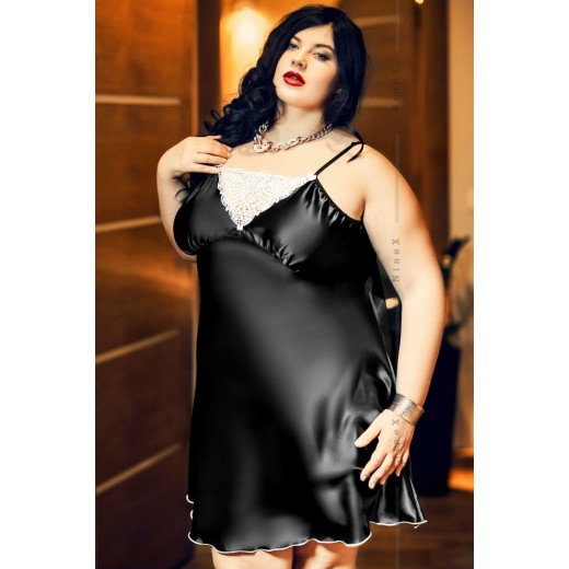 plus size-028  Isla  Satin and Lace Chemise Black  S-6XL Chemises-Nine X