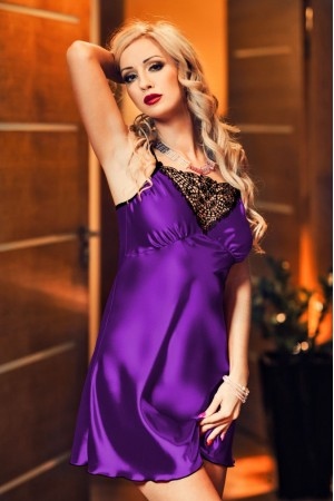 028 'Isla' Satin and Lace Chemise Purlpe  S-6XL