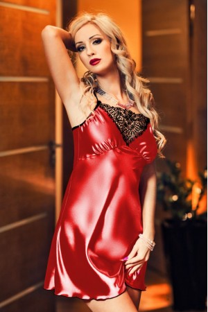 028 'Isla' Satin and Lace Chemise Red  S-6XL