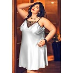 plus size-028  Isla  Satin and Lace Chemise Silver  S-6XL Chemises-Nine X